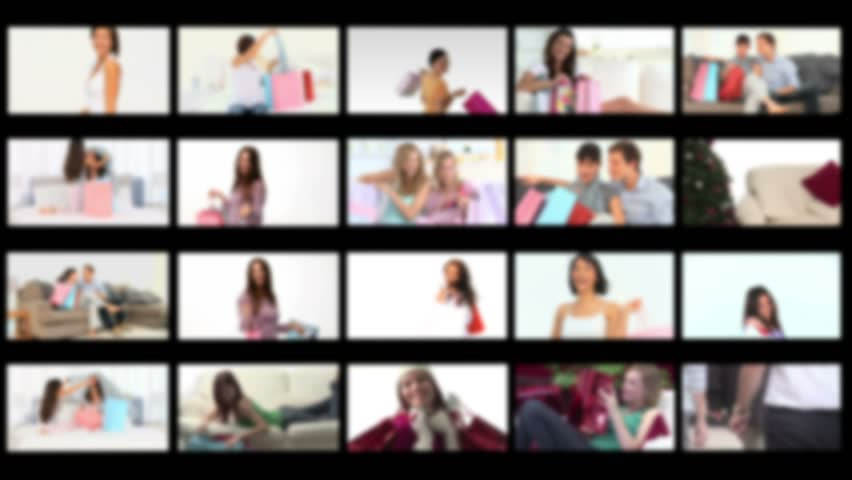 Montage of people happy having done their shopping