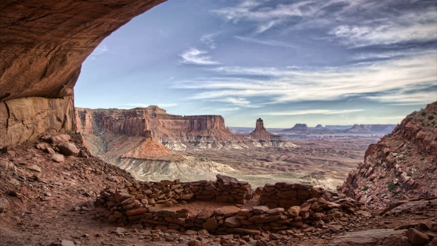 (1260) Gorgeous Clouds and Canyon Anasazi Cave Kiva Scenic Timelapse Canyonlands Moab Utah