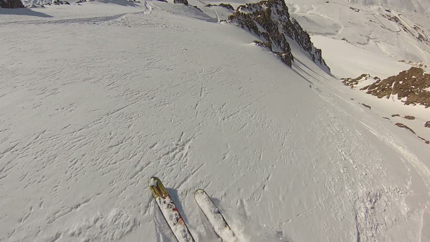 Expert skier POV fast turns in Argentina