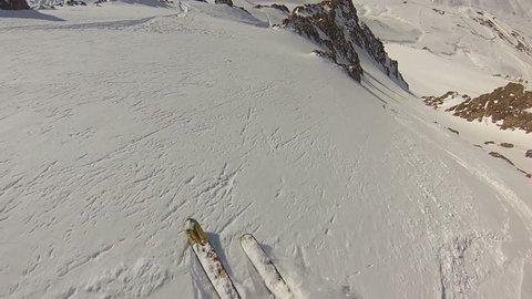 Expert skier POV fast turns in Argentina