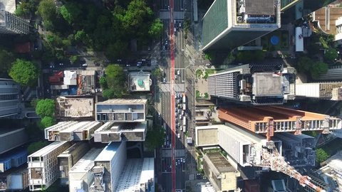 Aerial View of the famous Avenida Paulista (Paulista Avenue) in Sao Paulo, Brazil - Top View