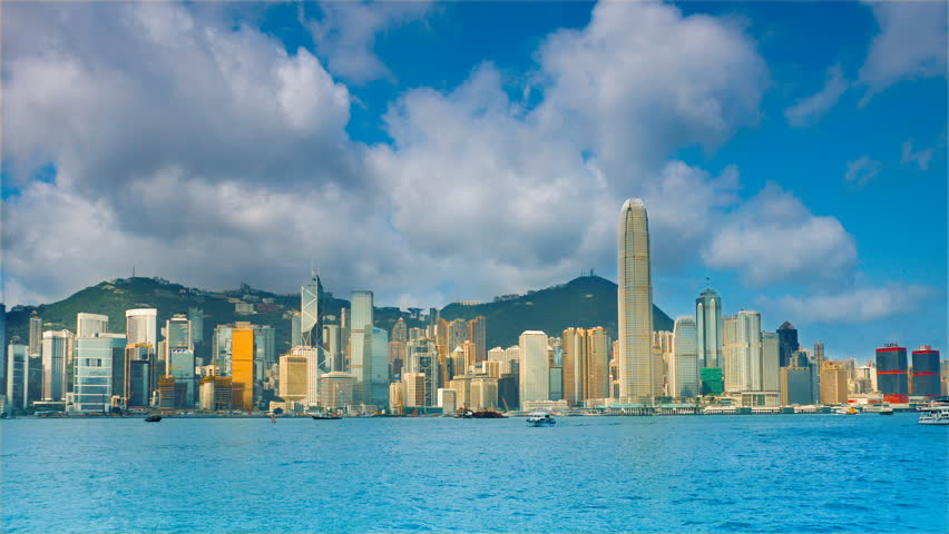 Hong Kong in the rays of the rising sun. Timelapse | Shutterstock HD Video #1214635
