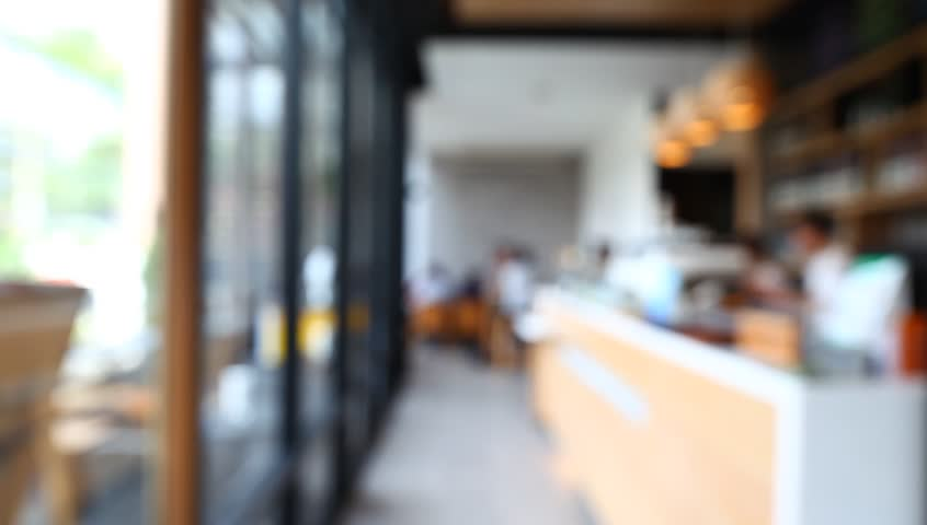 Blurred Background Of Coffee Shop With Vintage Filter