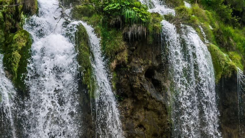 Lakes with waterfall in Croatia, Europe. Location: Plitvice, National Park Plitvicka jezera. 4k