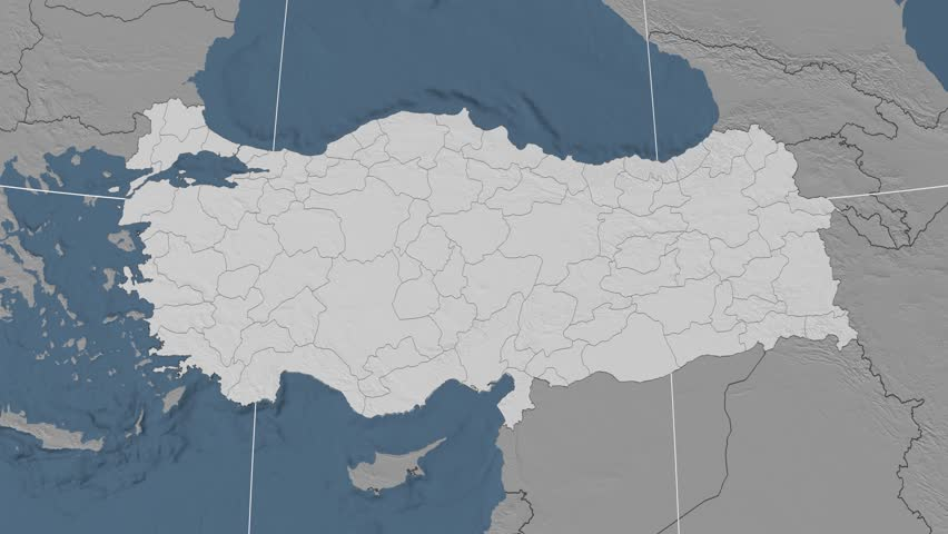 Rize Region Extruded On The Administrative Map Of Turkey Solid