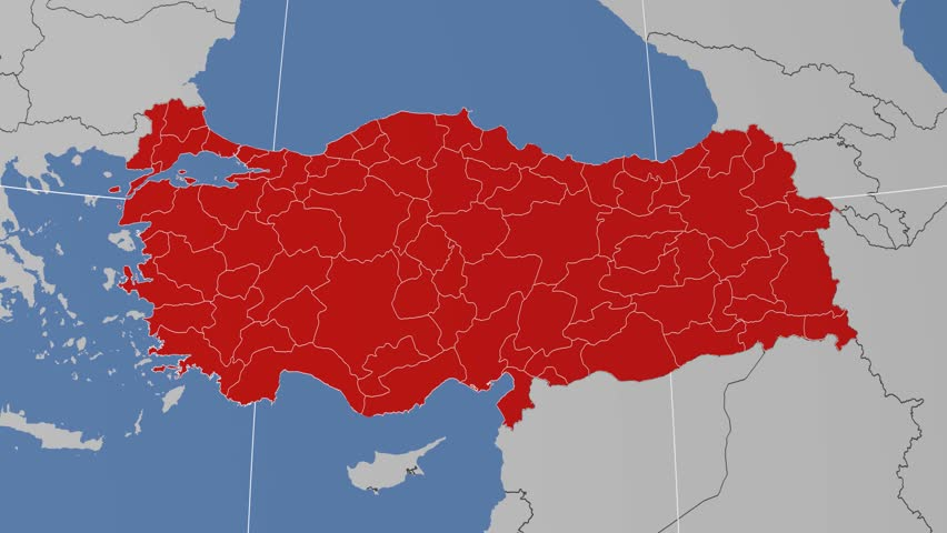 Bartin Region Extruded On The Administrative Map Of Turkey Solid