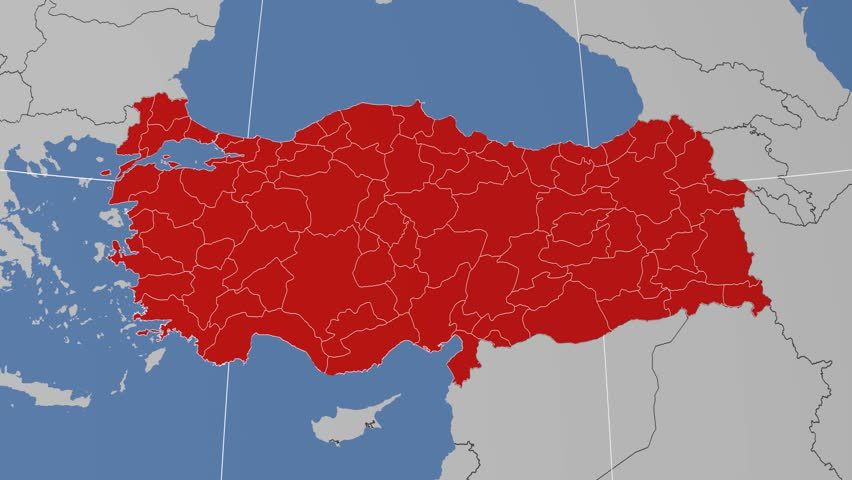 Erzincan Region Extruded On The Administrative Map Of Turkey Solid