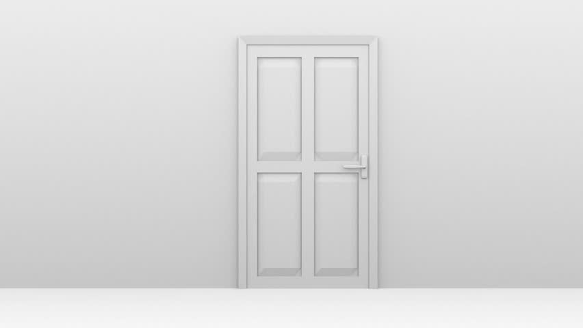 Freedom And Enlightenment Concept Of A White Door Opening To