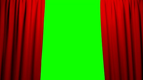 Curtains opening and closing stage theater cinema green screen 4K