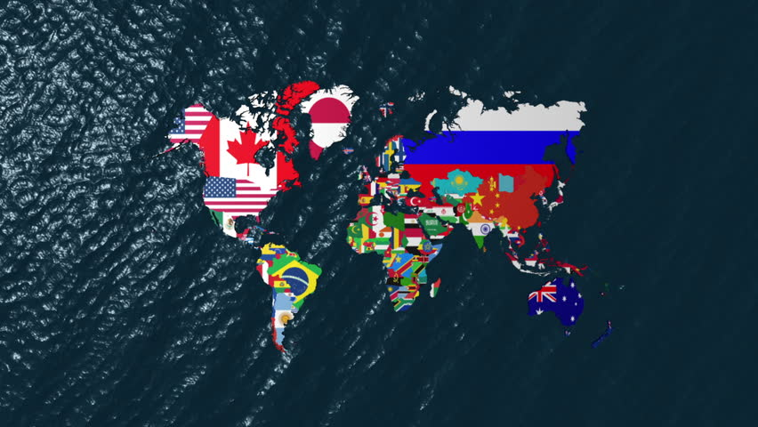Stock video of 3d wide flag world map zoom 1215262 shutterstock 3d wide flag world map zoom to north americ gumiabroncs Images
