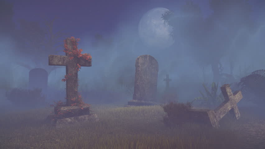 Mystical night at abandoned old graveyard under big full moon. Realistic 3D animation rendered in 4K   Shutterstock HD Video #12193553