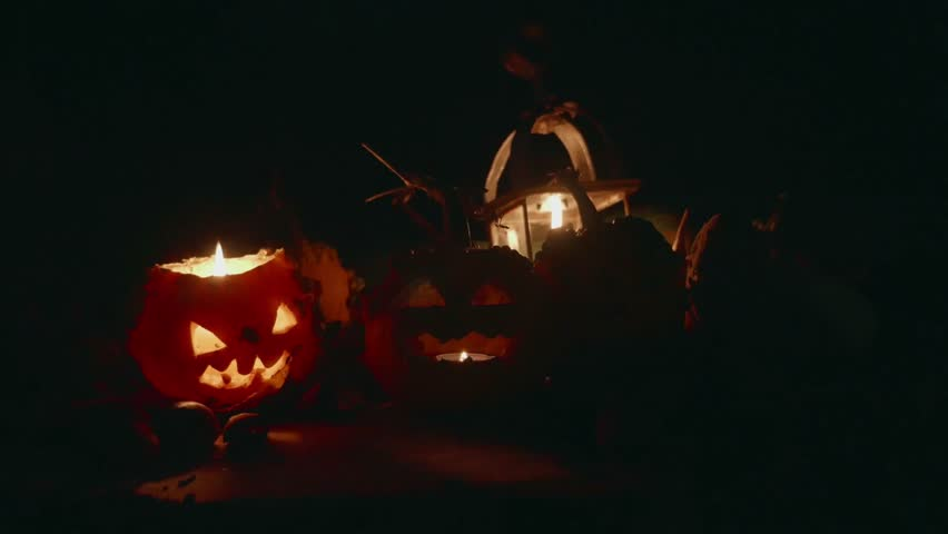 Halloween pumpkins with candle at night static shot   Shutterstock HD Video #12195308