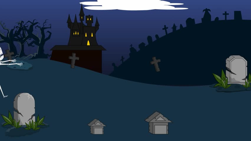 cartoon animation halloween celebration skeletons go to the cemetery meeting a zombie in - Halloween Background Video
