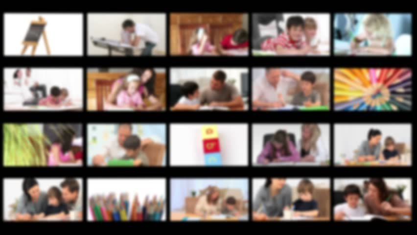 Montage of families spending time together at home