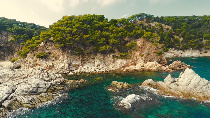 Aerial shot mediterranean coast, Spain