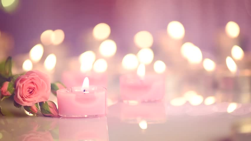 Candles Light Background Heart Shaped Valentine S Day