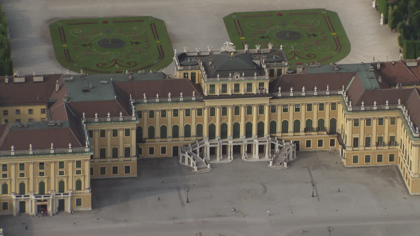 AERIAL WS ZO View of Schonbrunn Castle and cityscape / City of Vienna, Vienna, Austria - 06/16/2015