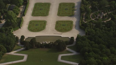 AERIAL WS View of Schonbrunn Castle and its formal gardens / City of Vienna, Vienna, Austria - 06/16/2015