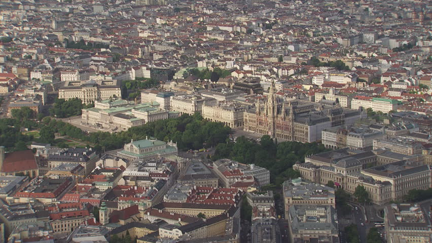 AERIAL WS View of cityscape / City of Vienna, Vienna, Austria - 06/16/2015