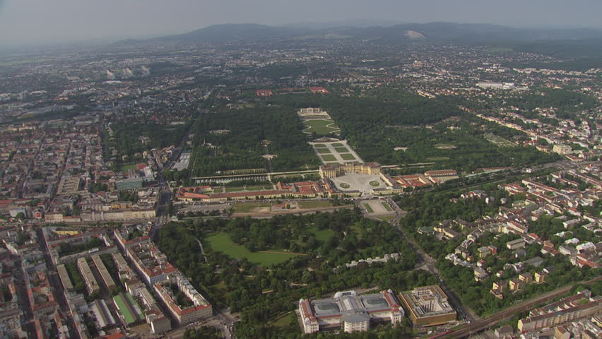 AERIAL WS ZI View of Schonbrunn Castle and cityscape / City of Vienna, Vienna, Austria - 06/16/2015