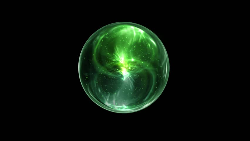 Green Magical Orb Spin on a Black Screen Background