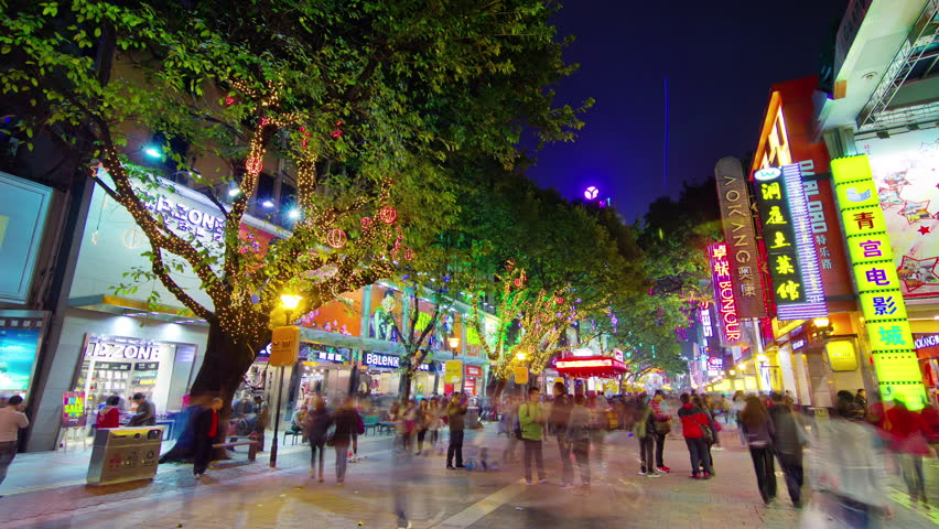 GUANGZHOU CHINA - SEPTEMBER 2015 famous night illumination tourist street 4k time lapse circa & GUANGZHOU CHINA - SEPTEMBER 2015: Night Light City Tourist Famous ... azcodes.com