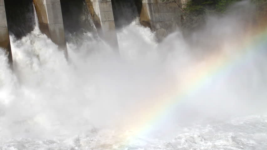 Hydro power dam with rainbow