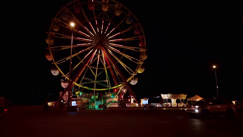 Motion Zoom In, Time Lapse 4k ProRes. Of Ferris Wheel At I