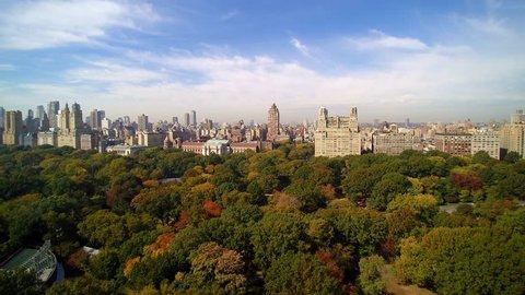 WEST SIDE AERIAL Central Park. 4k Aerial shot of Central Park, New York City