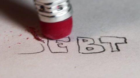 Pencil erasing removing debt