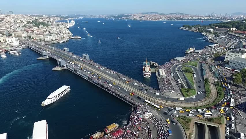 Aerial view of Golden Horn, Galata Bridge and New Mosque,Istanbul