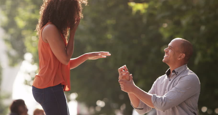 Young man proposes marriage to his beautiful girl. Shot on RED Epic. | Shutterstock HD Video #12455249