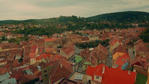 A scenic aerial shot of the Transylvanian town of Sighisoara in Romania. The Historic Centre of Sighisoara is a UNESCO World Heritage site.