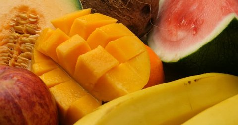 Fruits health daily eating and vitamin rich diet. Fresh natural organic sweet fruit. Fruit contains vitamins and is part of a healthy diet. Eating fruit should be part of daily shopping list.
