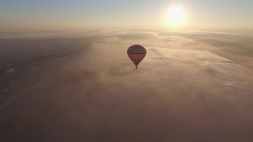 Hot Air Balloon in Bright Blue Sky