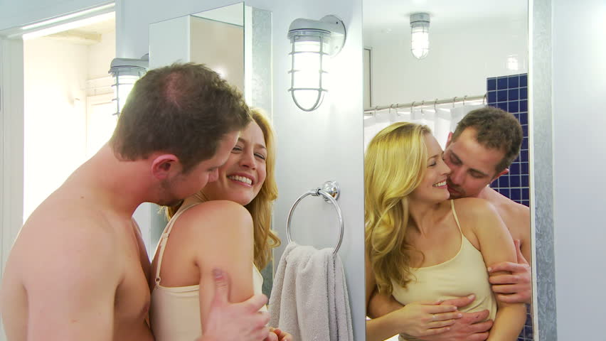 Hd0008Young Couple Being Playful And Romantic In Bathroom