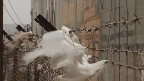 Israel - Palestine separation barrier wall, plastic on barbed wire in wind