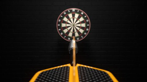 02401 Three Dart Arrows Hitting In Bullseye Of Dartboard