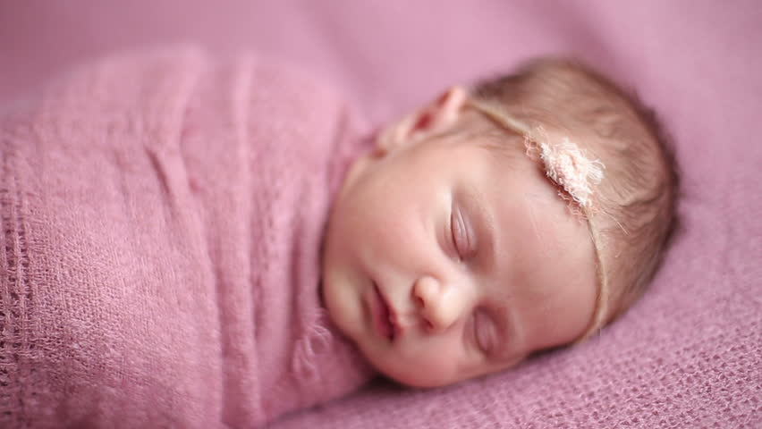 Cute Babies Sleeping Images: Cute Newborn Baby Girl Sleeping Stock Footage Video