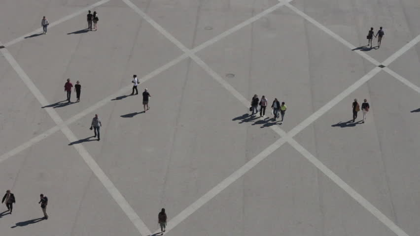 Stock Video Of Aerial View People Walking In