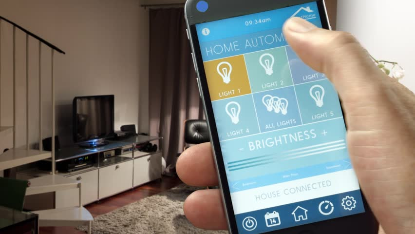 Smartphone Home Control smart home - smart house, home automation, smart device with app