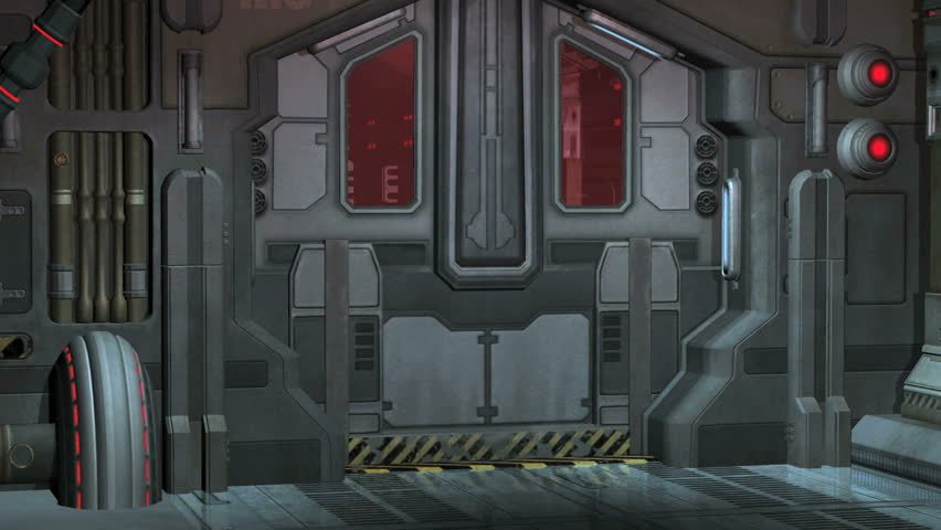 Futuristic Elevator And Door Including Green Screen The