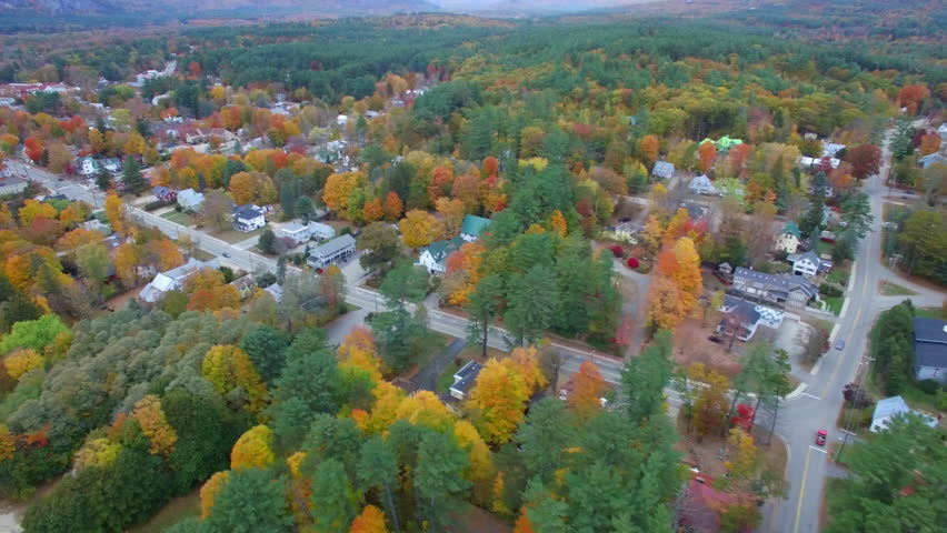 Aerial video of foliage in Conway New Hampshire