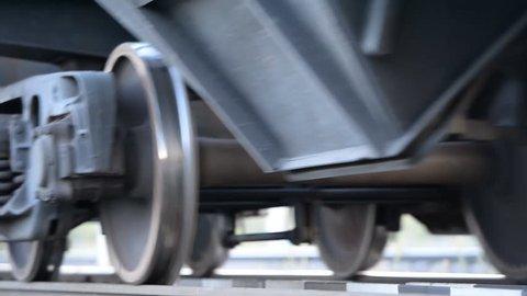 Closeup wheelset freight train