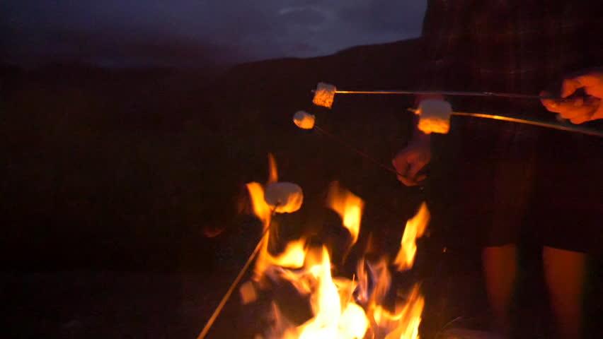 Group roasts marshmallows over fire pan around