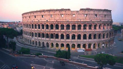 17 September 2015 :Colosseum, Rome, Italy. Aerial Roman Coliseum on sunrise. Beautiful view of the famous Italian landmark travel icon in the Roman forum.