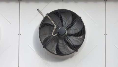 Ungraded: Ventilation fan. Fan of flow-exhaust ventilation system of the building. Source: Canon EOS, ungraded H.264 from camera without re-encoding. (av12982u)