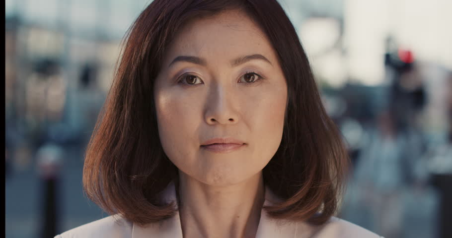 Slow Motion Portrait Of Beautiful Japanese Woman In City -3821