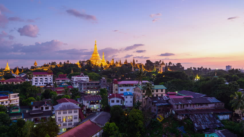 Yangon, Myanmar time lapse from day to night.