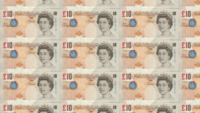 Gbp 10 Pound Notes Looping Background Great British